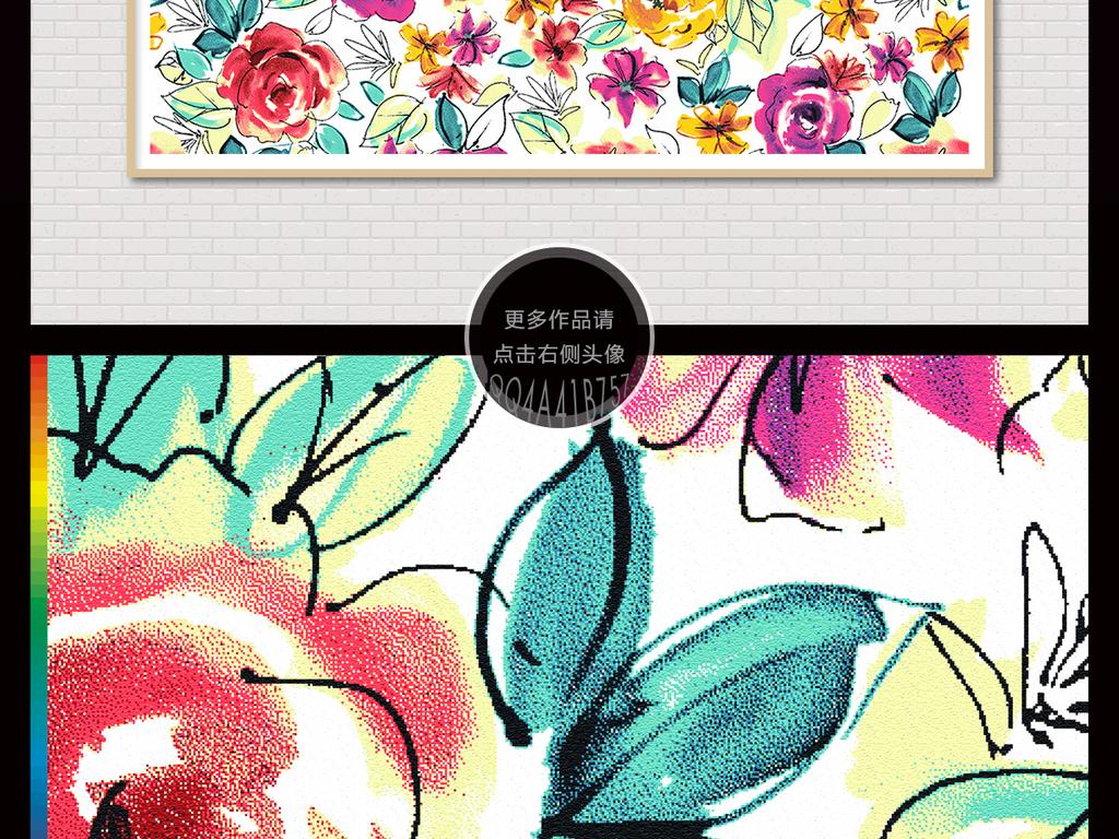 唯美手绘玫瑰花卉北欧背景墙装饰画
