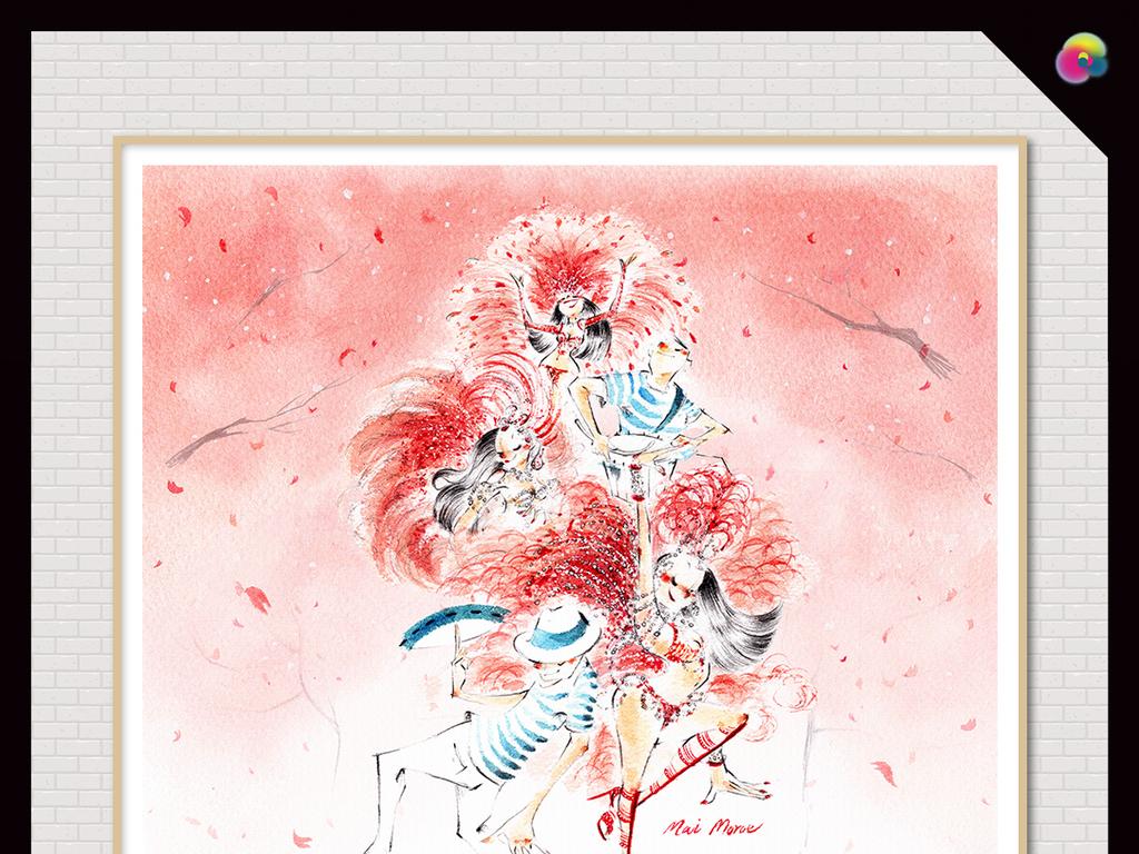 现代简约手绘超清独特抽象舞者艺术玄关