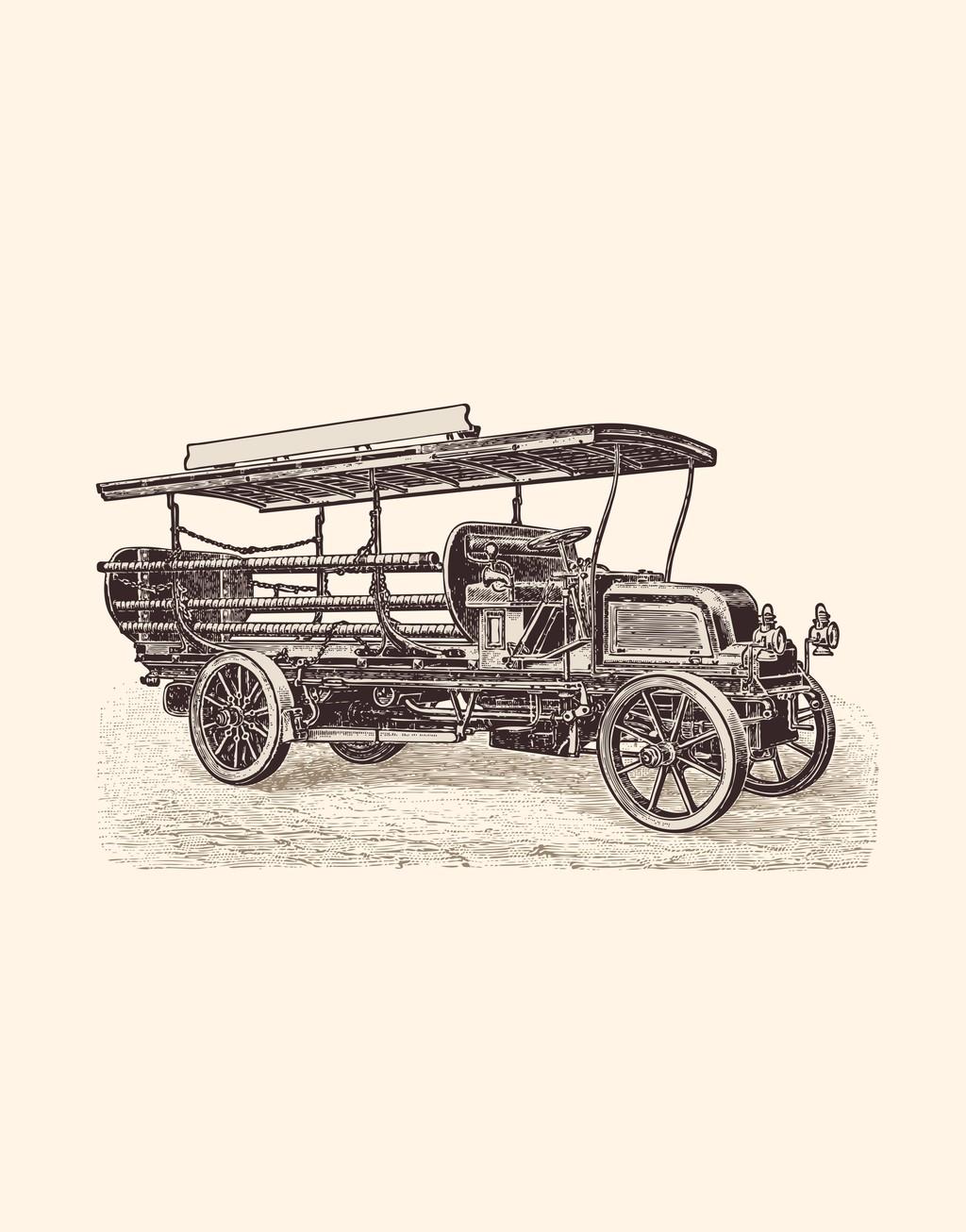 老爷车房车小轿车手绘汽车