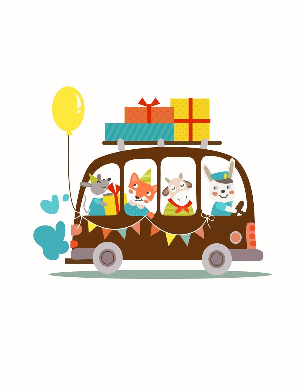 设计元素 其他 其他 > 卡通汽车动物气球礼品兔子狐狸   图片编号