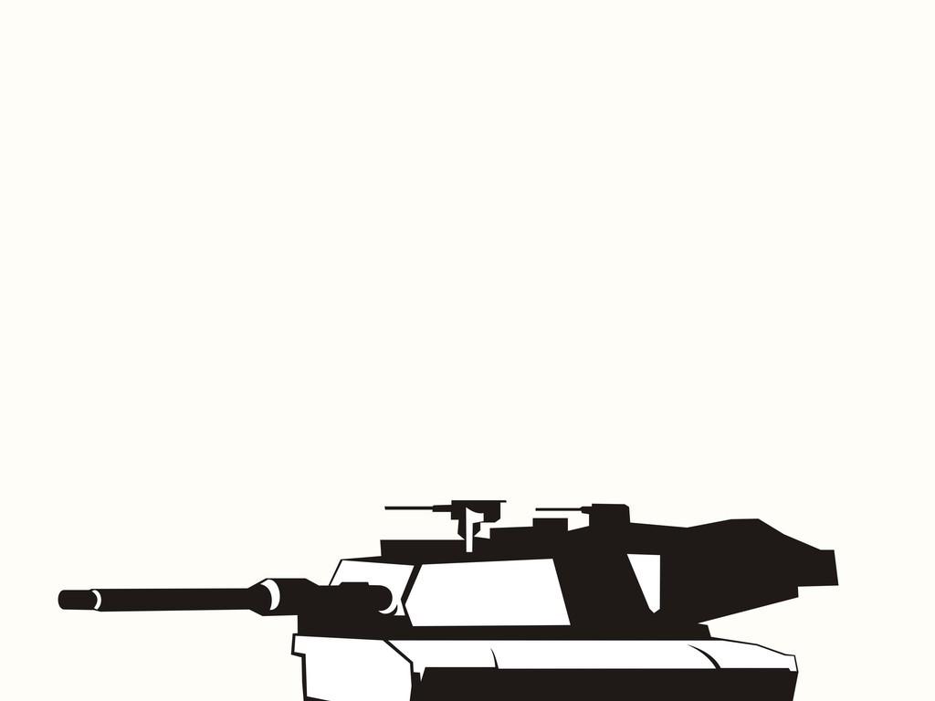 坦克交通工具黑白简笔画