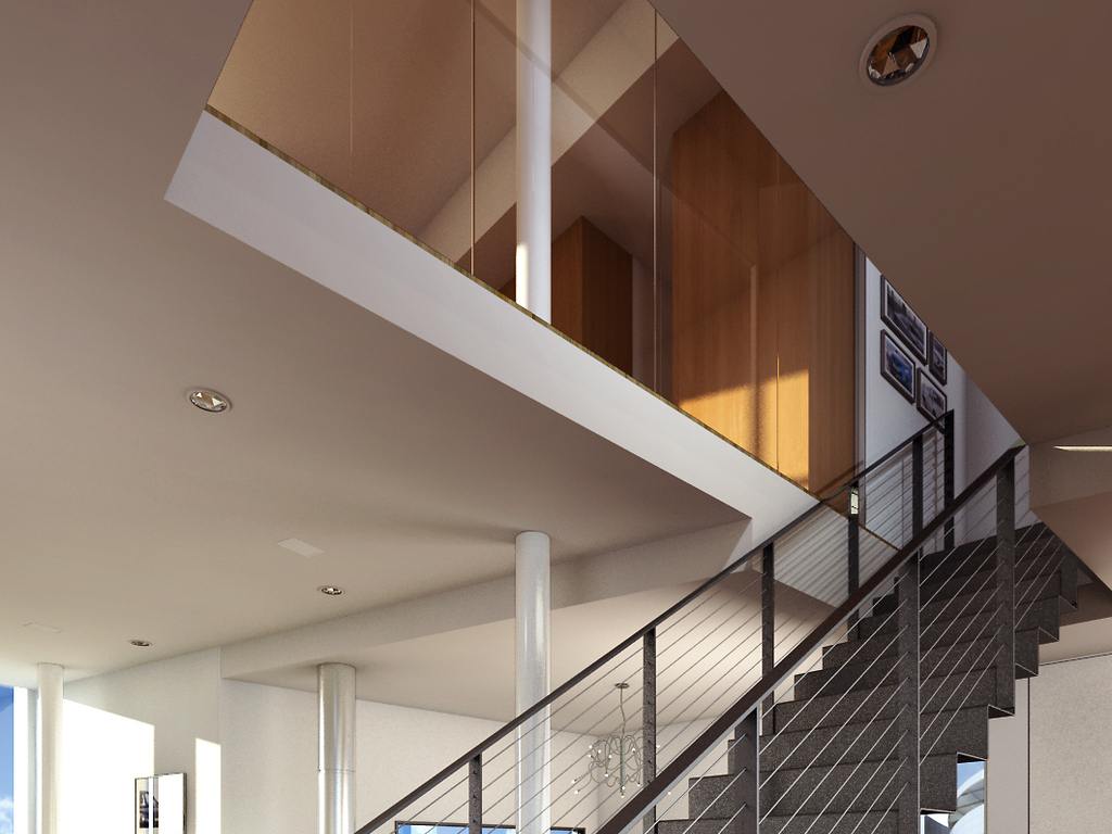 别墅室内客厅楼道楼梯口渲染效果图3d模型