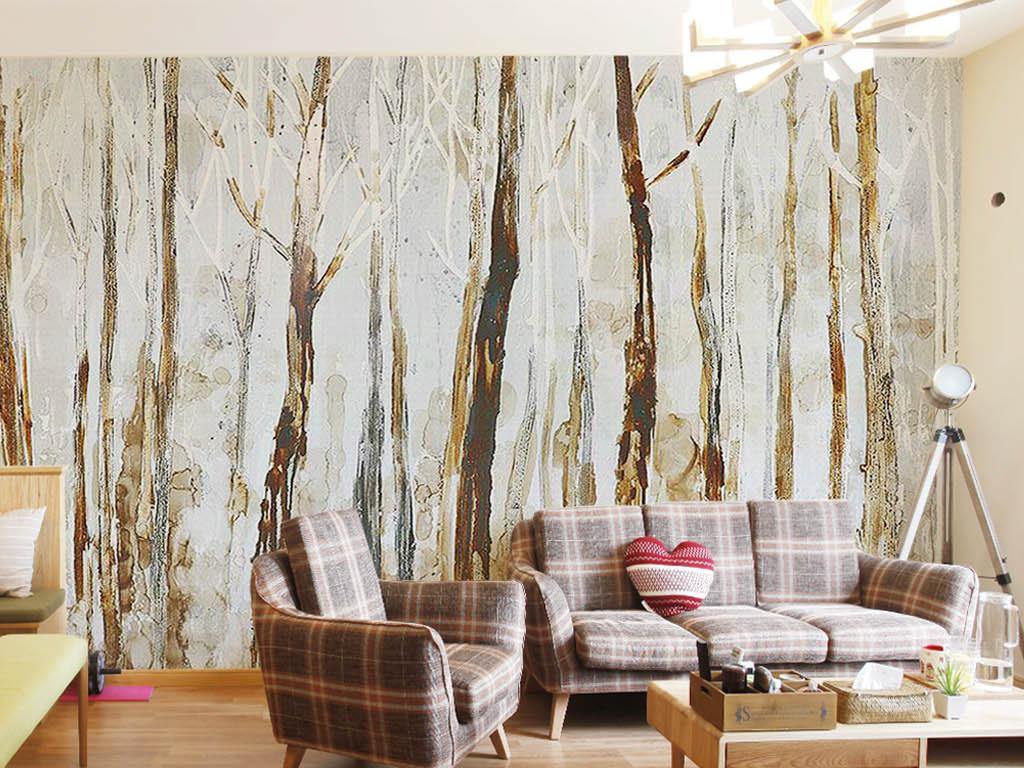 背景墙|装饰画 电视背景墙 手绘电视背景墙 > 个性简欧斑驳纹理树皮树