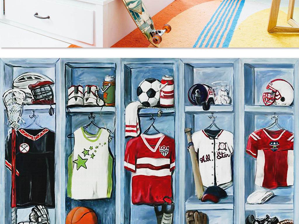 儿童房男孩手绘卡通足球秋衣篮球球服活泼清新仿衣柜