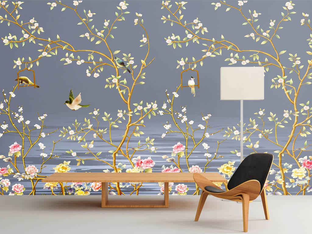 美式韩风手绘花鸟壁画背景墙