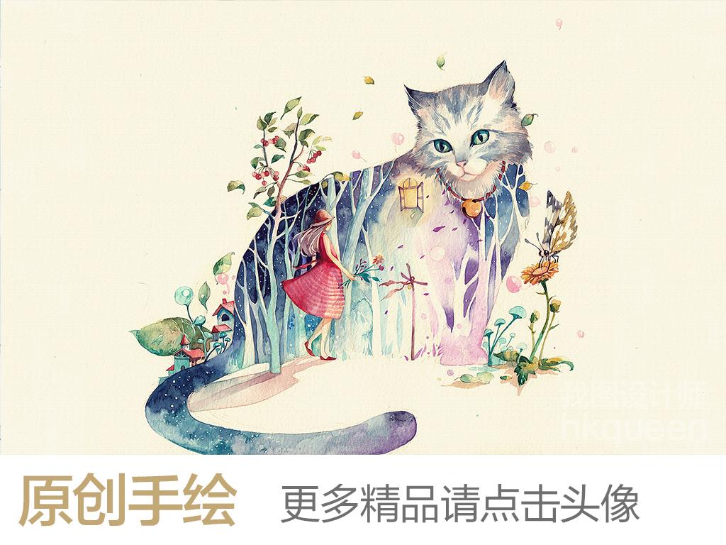 北欧简约现代手绘卡通创意猫咪电视背景墙
