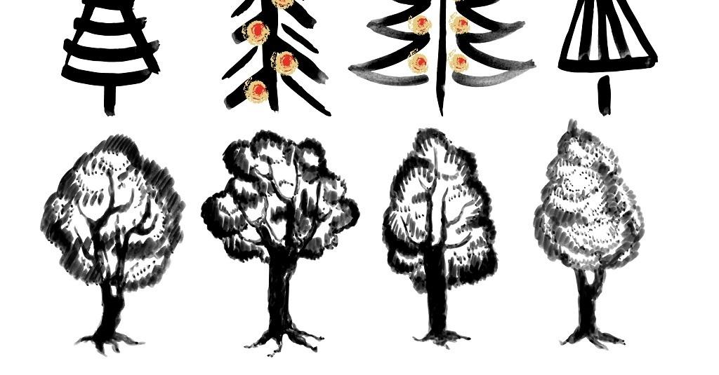 树简笔画水墨画手绘矢量图