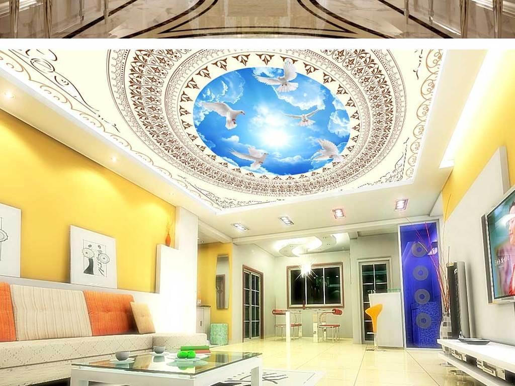 背景欧式吊顶设计集成吊顶壁画别墅吊顶壁纸酒店大堂图片