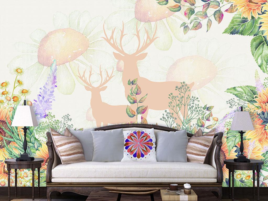 背景墙|装饰画 电视背景墙 手绘电视背景墙 > 手绘向日葵北欧客厅餐厅
