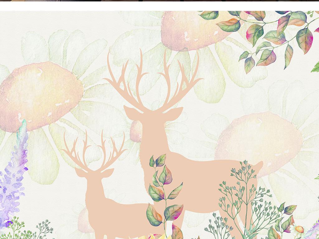 唯美餐厅手绘背景客厅卧室餐厅背景手绘向日葵北欧背景卧室背景客厅