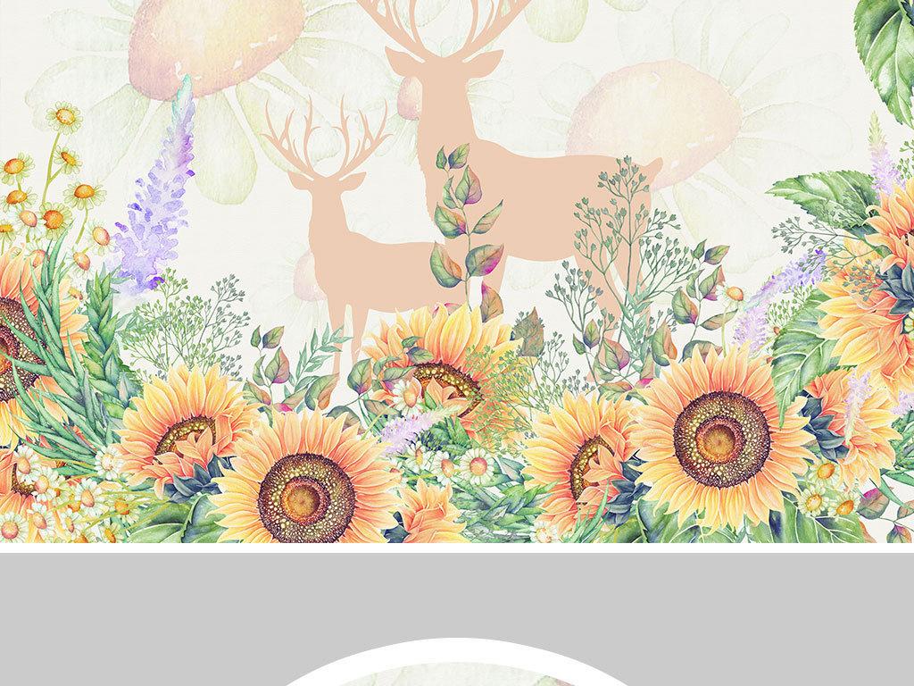 手绘向日葵北欧客厅餐厅卧室背景墙