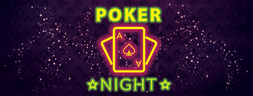 炫彩霓虹酒吧扑克俱乐部扑克之夜宣传海报