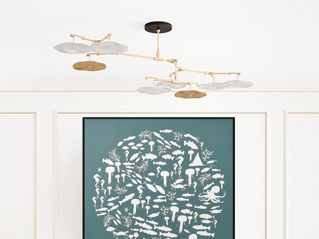 动物拼图小清新现代欧美海马鱼群水母装饰画