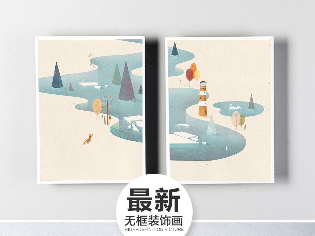小清新卡通画简约小清新简约创意北欧简约北欧风景北欧风情北欧风光北