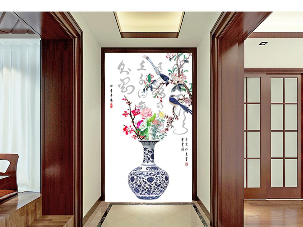 中式插花手绘图