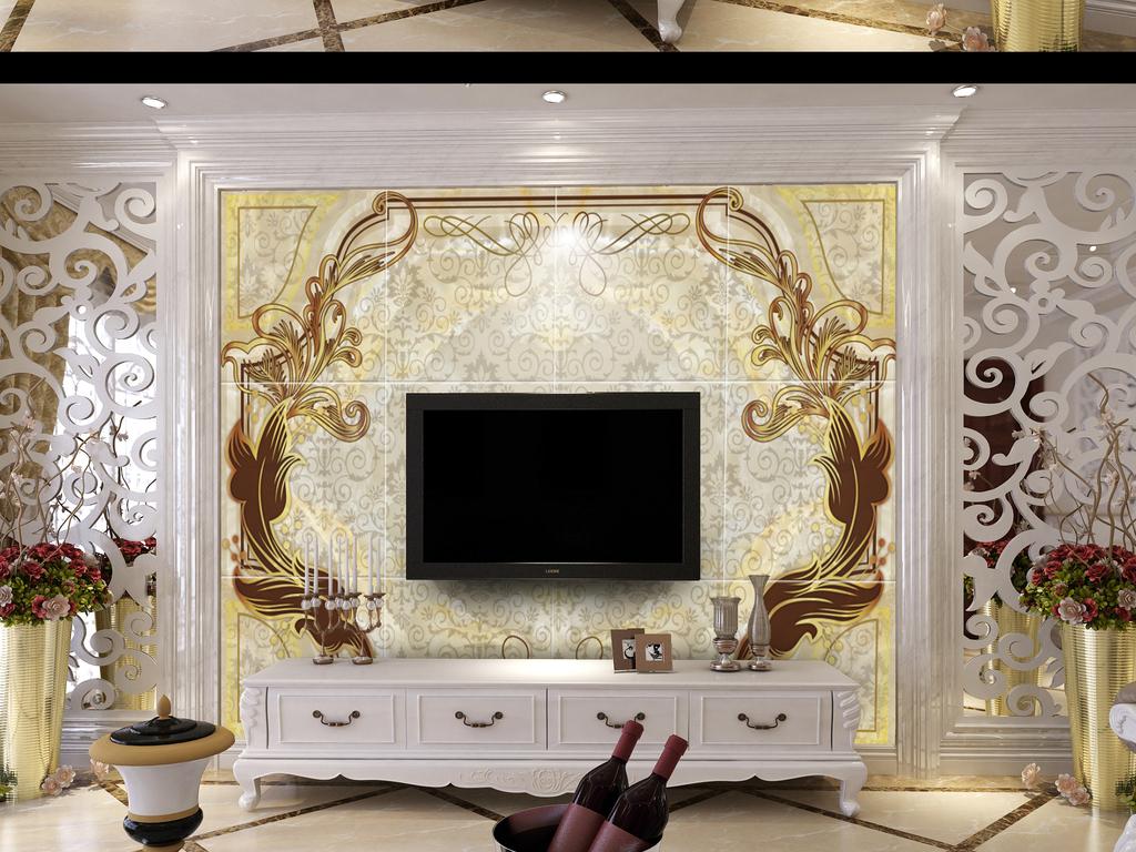 欧式花纹电视背景墙图片