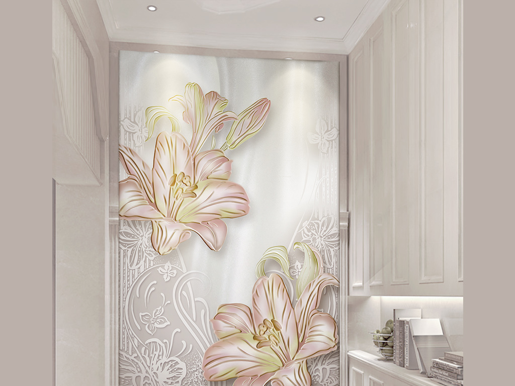 3d唯美粉色百合花丝绸欧式花纹玄关背景墙