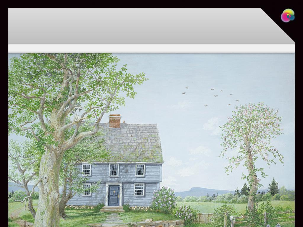 梦幻手绘树林中小屋水彩画电视背景墙