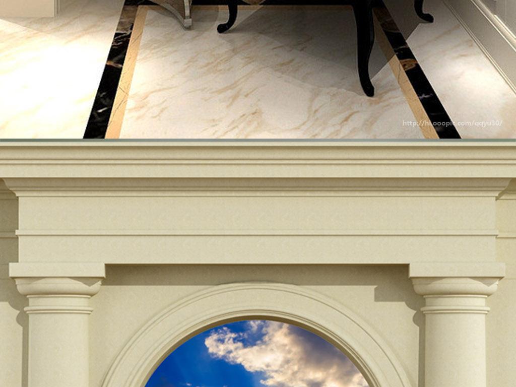 阳台树林阳光风景罗马柱拱门草地电视背景墙3d电视