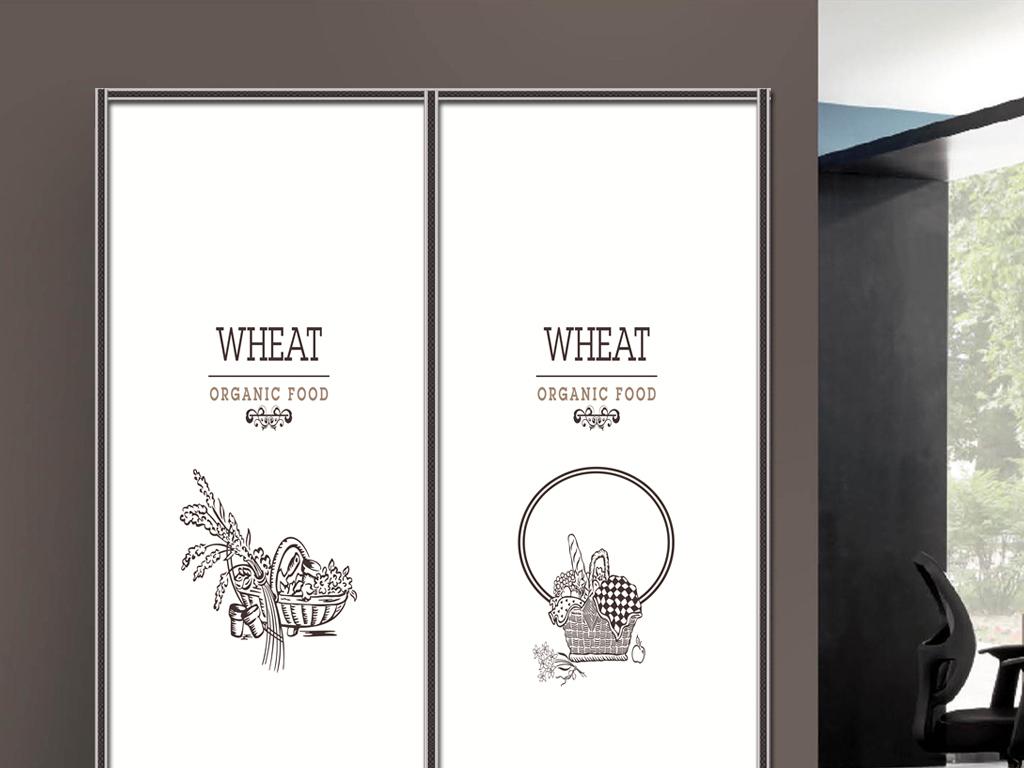 印黑白花蓝彩绘衣柜移门图片