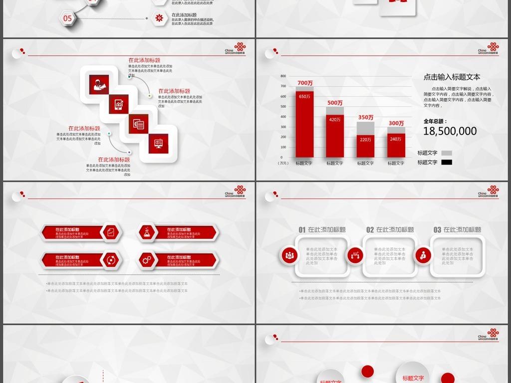 中国联通总结报告PPT模板