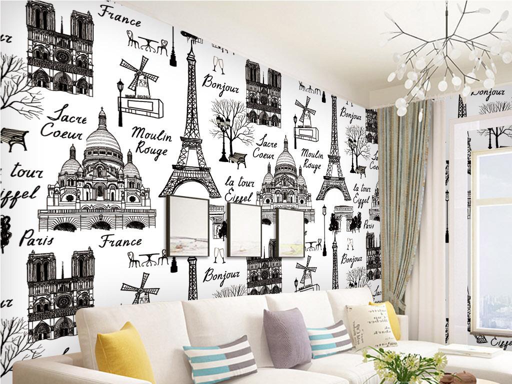 手绘国外著名建筑物背景墙壁纸墙纸