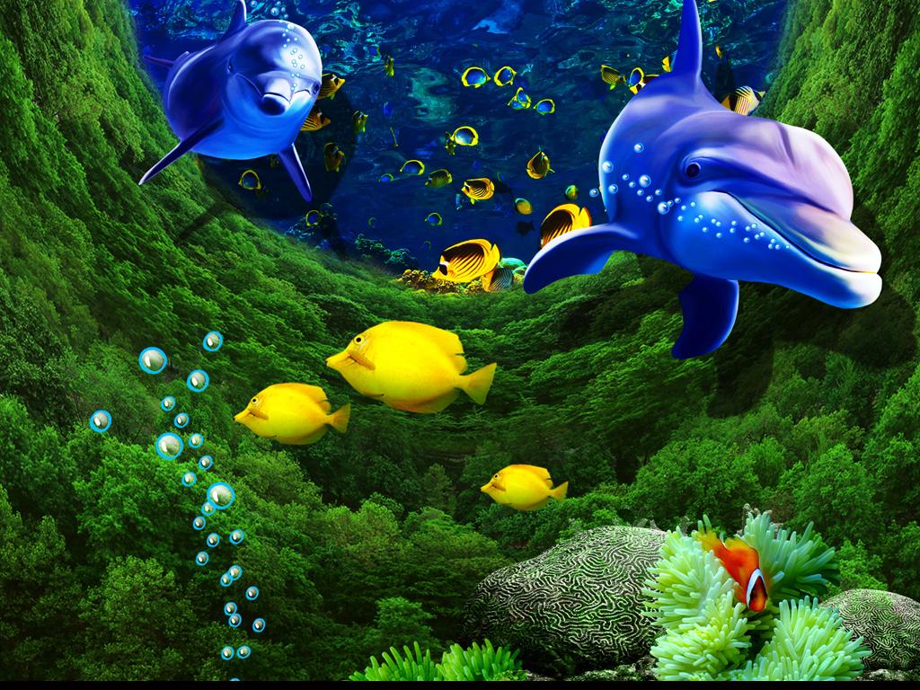 3d立体森林海底海豚玄关过道背景墙装饰画