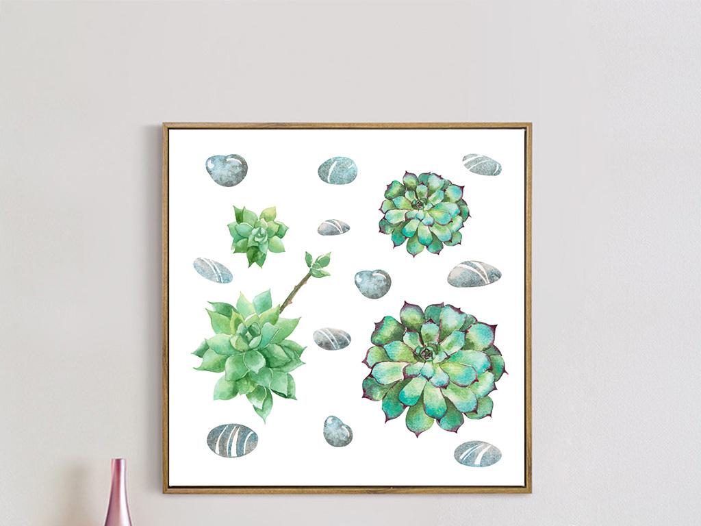 壁画墙画床头画沙发背景墙画单幅画芯意境绿色田园植物多肉植物绿色