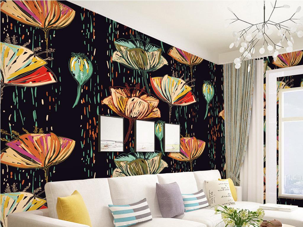 现代简约手绘花朵背景墙墙纸壁纸