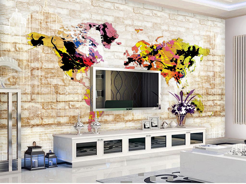 涂鸦泼溅世界地图复古砖墙背景墙