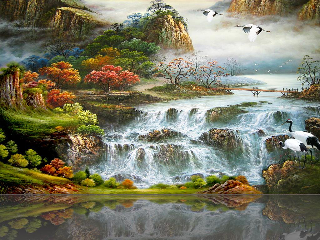 油画山水画中式仙鹤彩雕大型装饰画图片