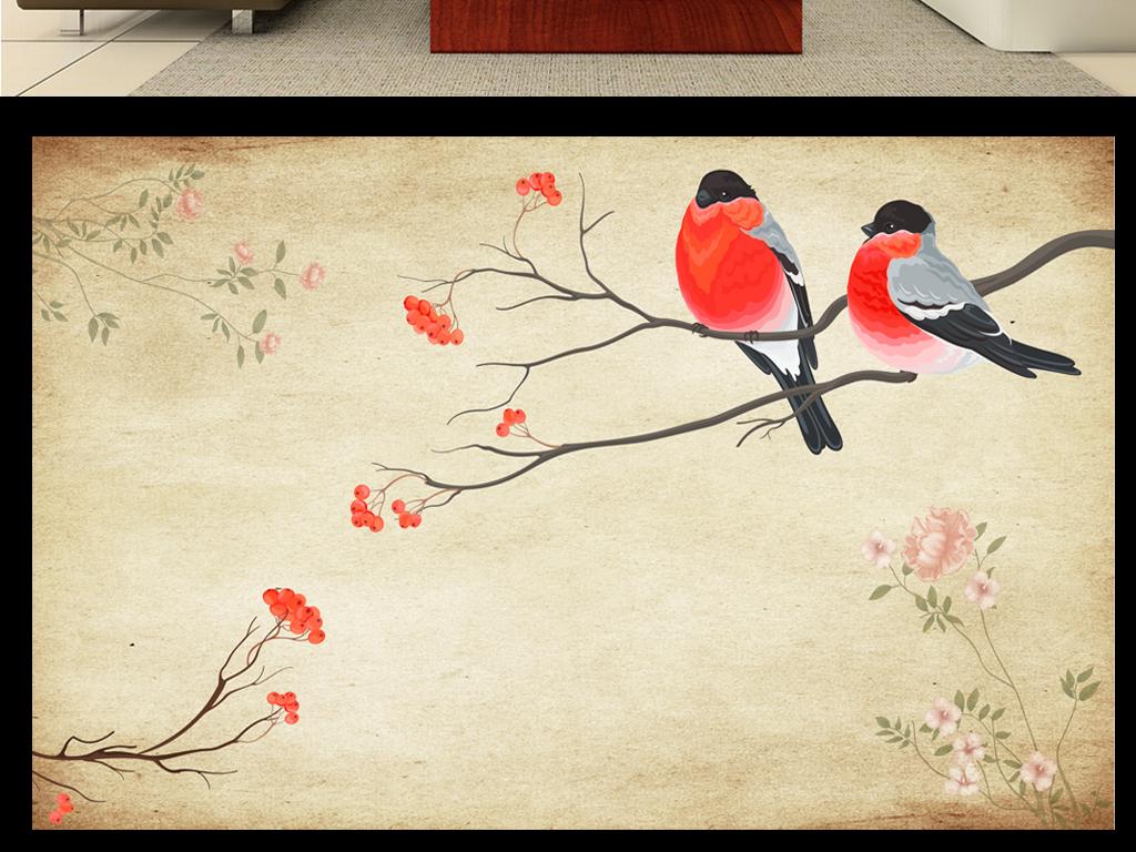 高清大型手绘花鸟电视背景墙壁画