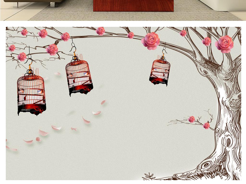 花朵背景手绘背景墙沙发简约办公时尚背景唯美玫瑰花