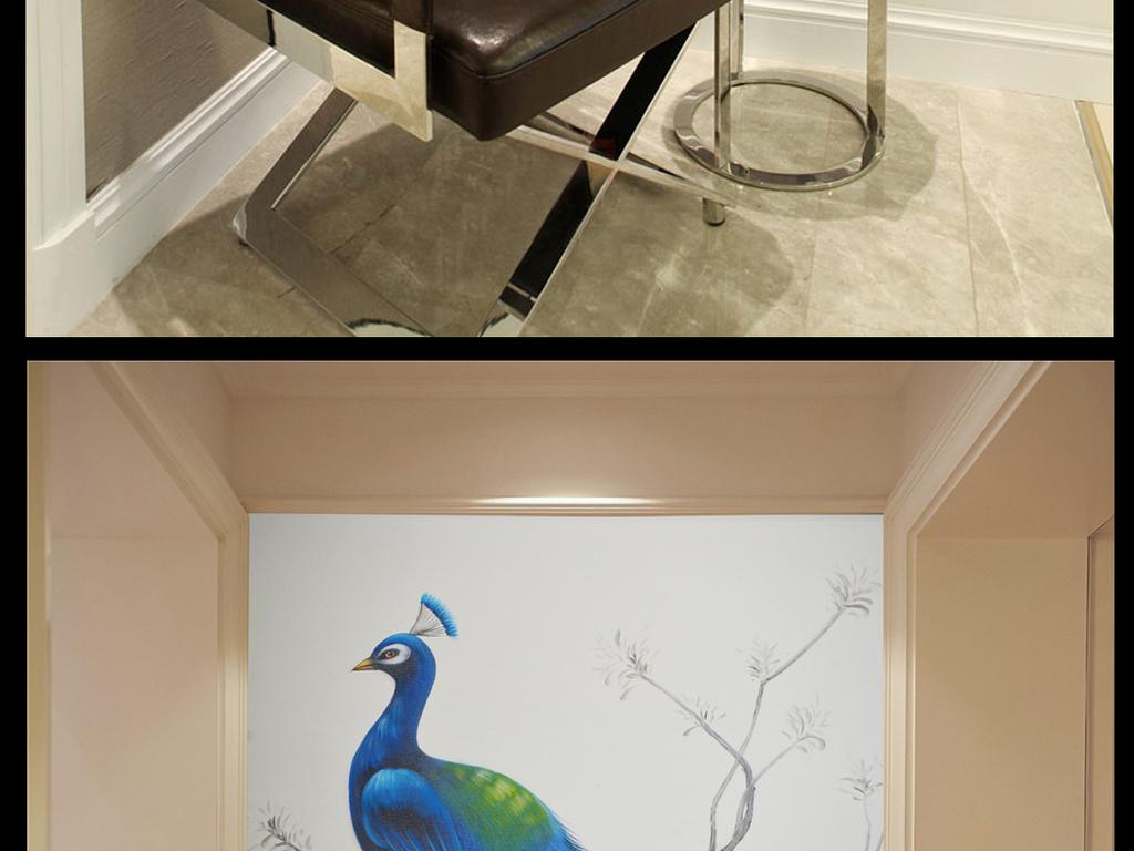 鸟中孔雀手绘油画装饰玄关