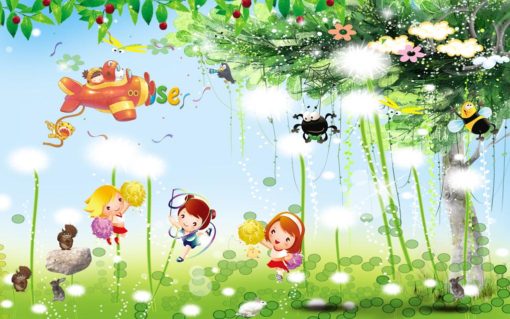 儿童房壁画卡通儿童房背景墙