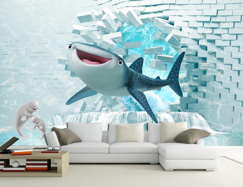 电视背景墙 现代简约电视背景墙 > 3d鲨鱼立体清新电视沙发背景壁画