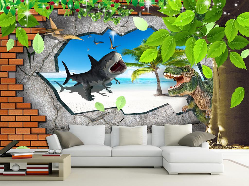 3d卡通大树风景立体儿童房壁画