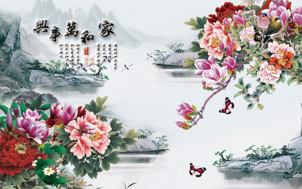 中式古典水墨画中国风背景墙壁画图片