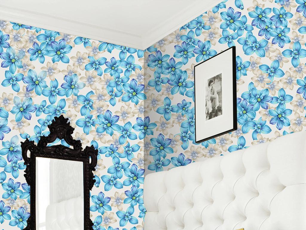 淡雅浪漫欧式蓝色花卉墙纸电视背景墙