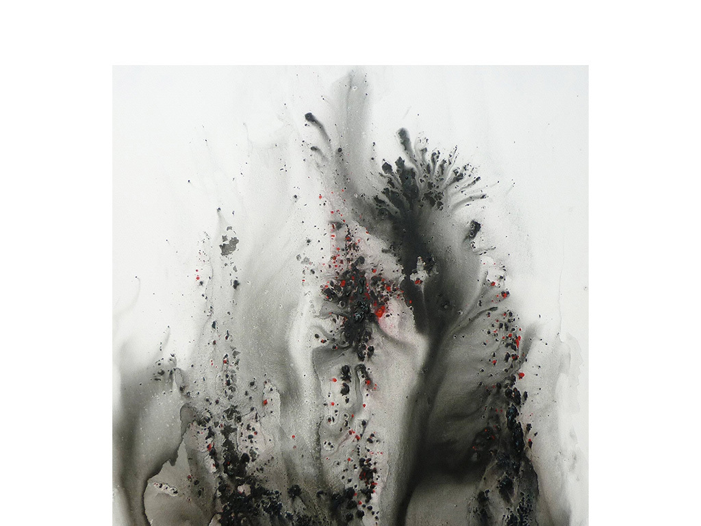 新中式背景墙油画黑色水墨抽象装饰画图片