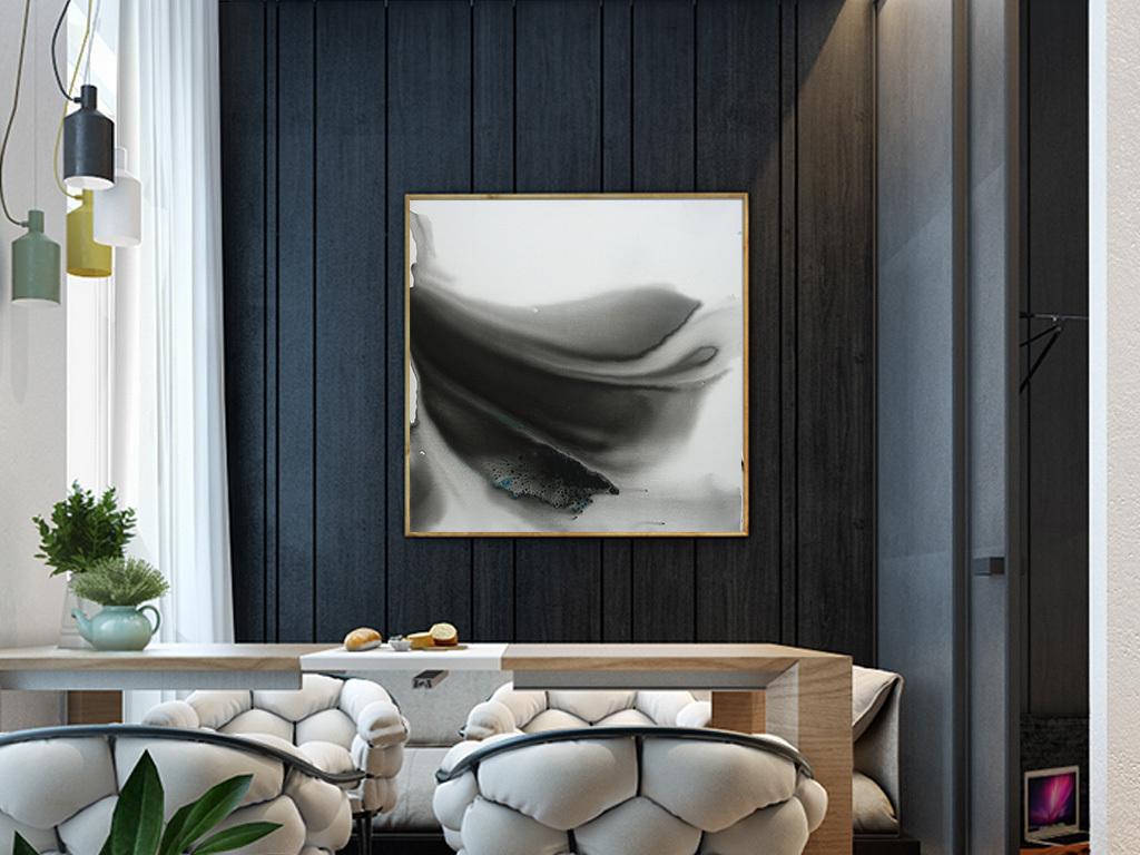 现代新中式玄关背景墙挂画水墨抽象无框画图片