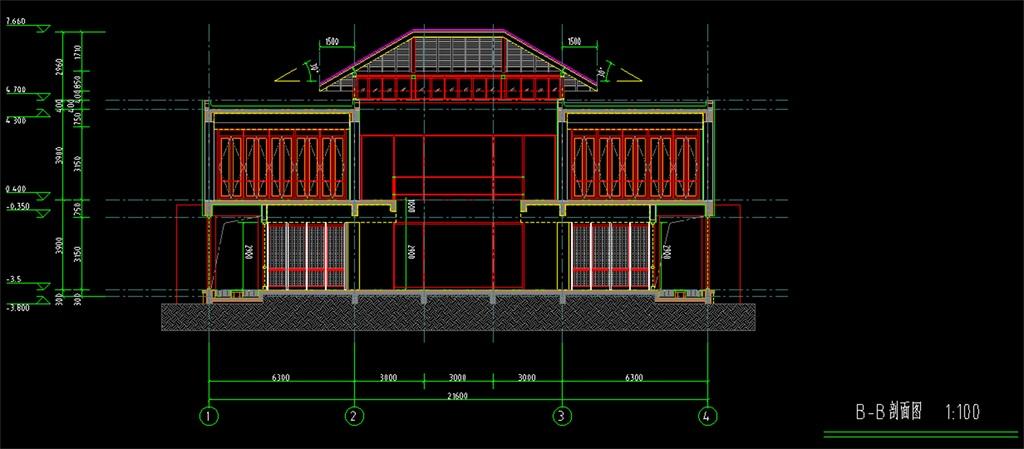 二层别墅施工建筑cad剖面图