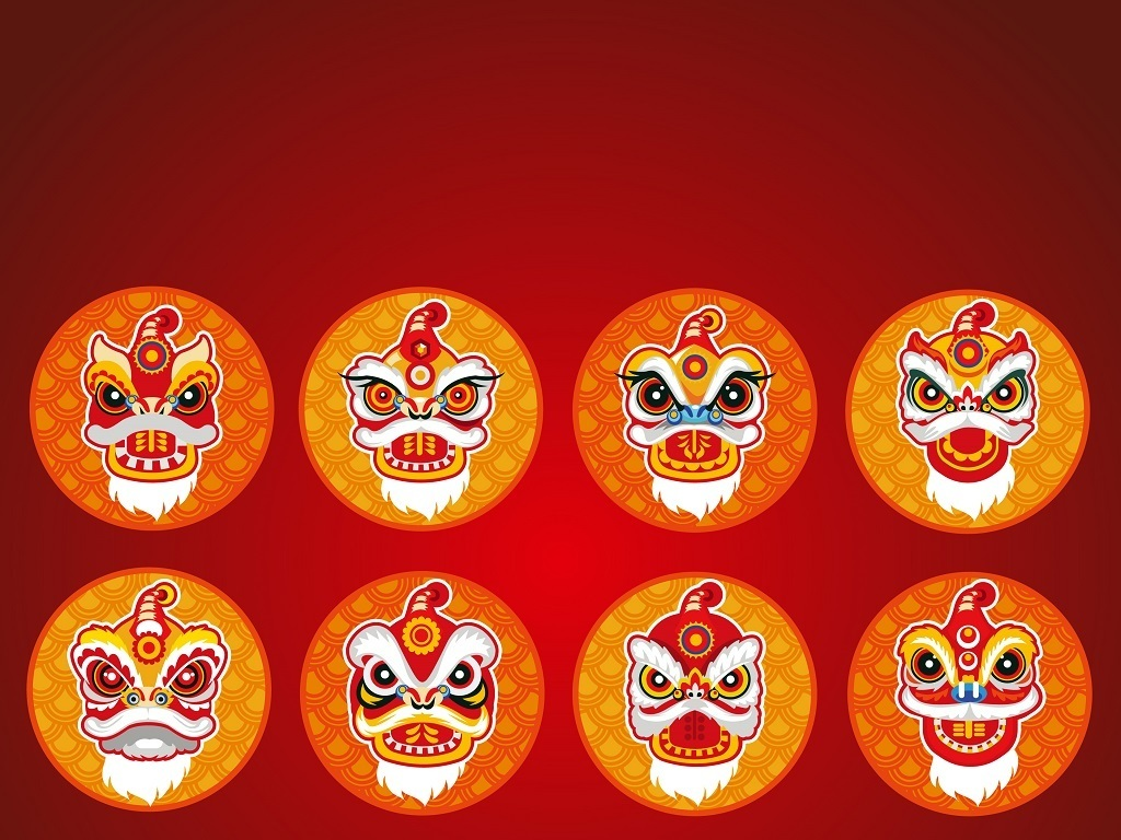 中国舞狮手绘头像矢量图