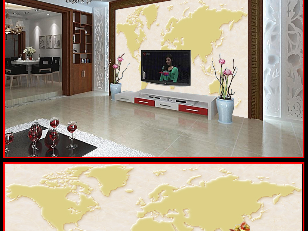 我图网提供精品流行艺术浮雕世界地图电视沙发背景墙