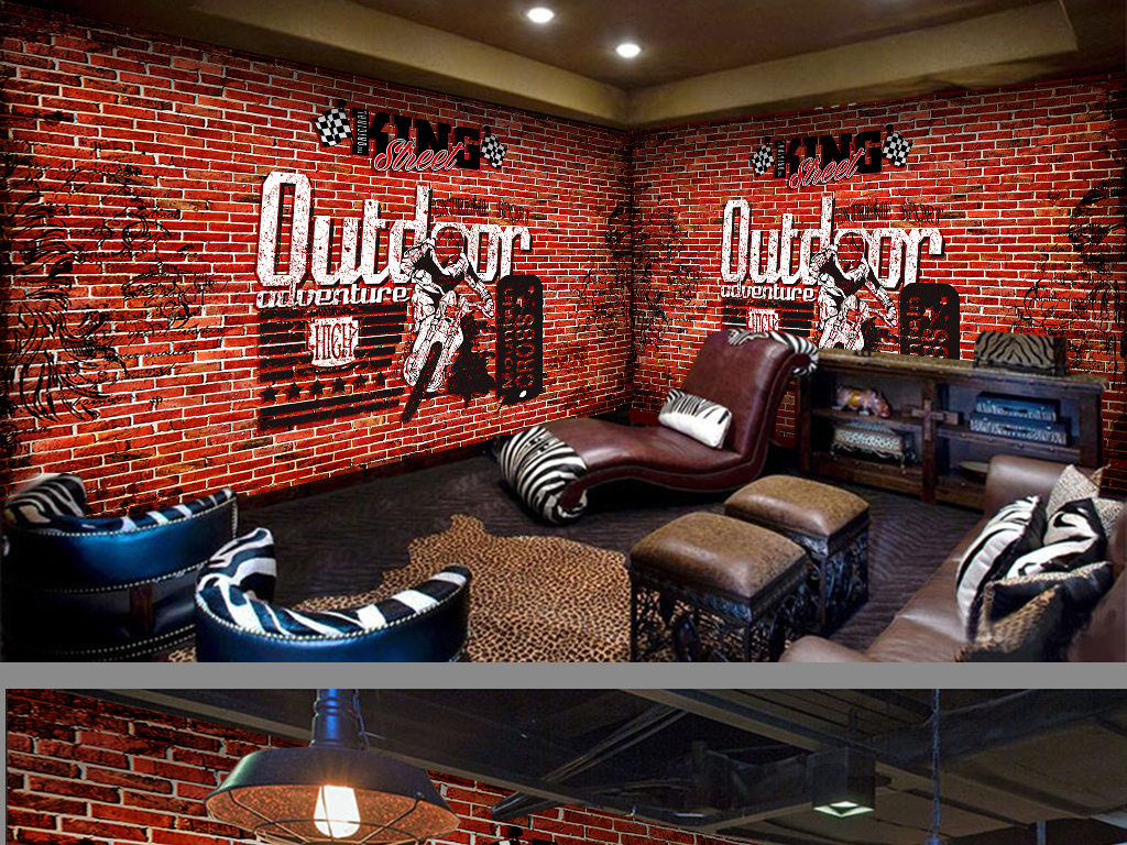 摩托赛车红砖复古工装背景墙