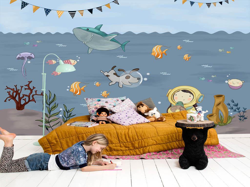 手绘卡通海底世界儿童房背景墙(图片编号:15931331)