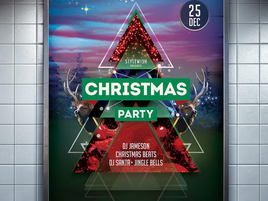 多色炫彩梦幻时尚几何创意圣诞节活动海报图片