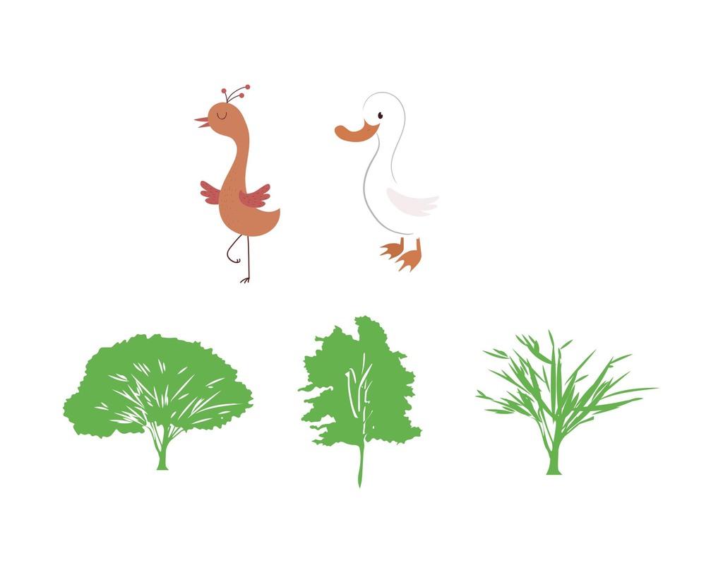 树木矢量卡通可爱动物素材鸭子