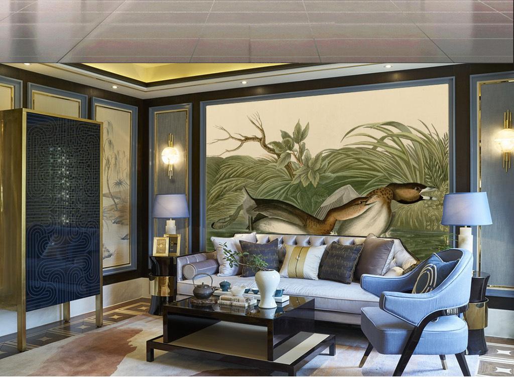 北欧简约手绘小年水鸟客厅沙发无框画背景墙