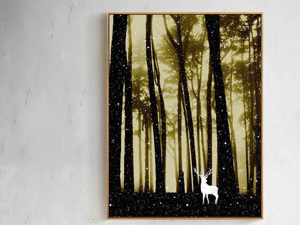 唯美中国风森林麋鹿装饰画无框画